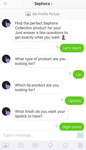 eCommerce chatbot conversation: KIK - Sephora.com shopping assistant. Sephora.com shopping assistant.