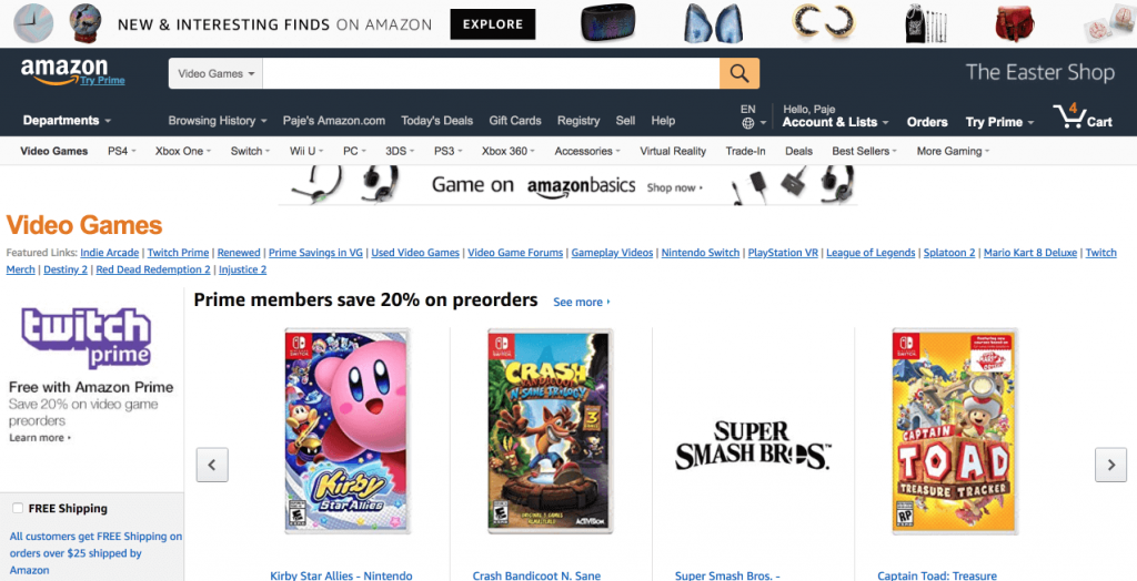 Amazon website after redesign