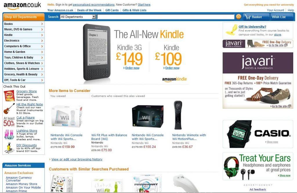Amazon website before fedesign