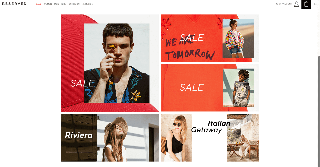 Grid design in ecommerce