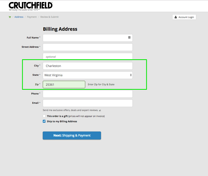 Pre-fill options in the billing process