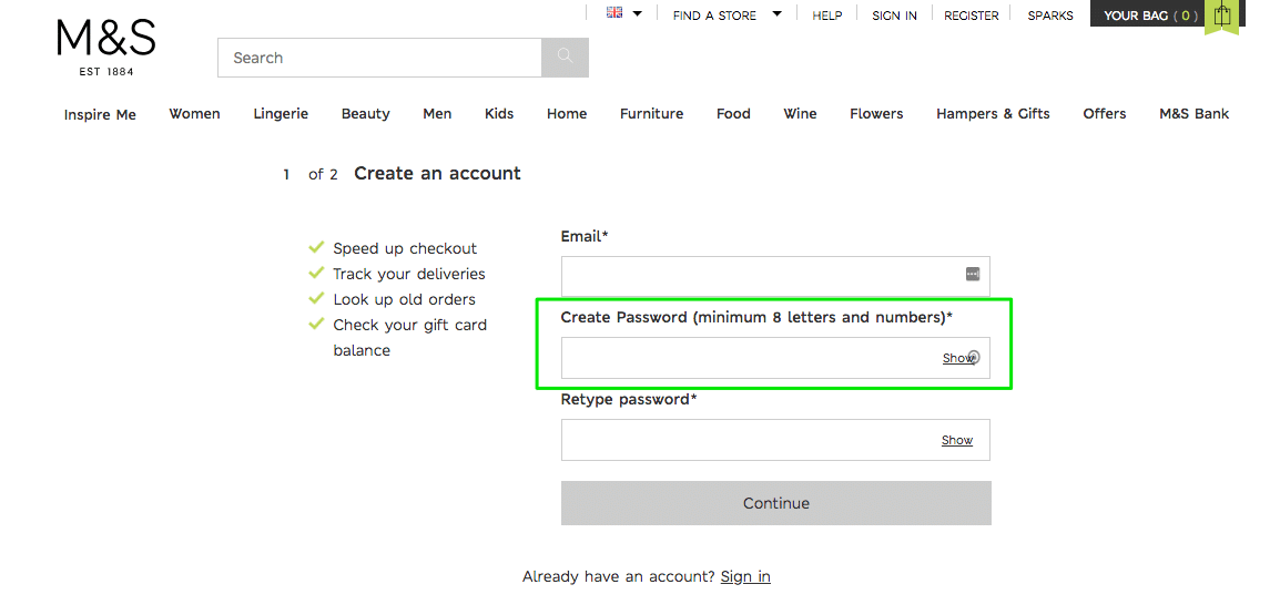 Registration to M&S online store with overcomplicated password