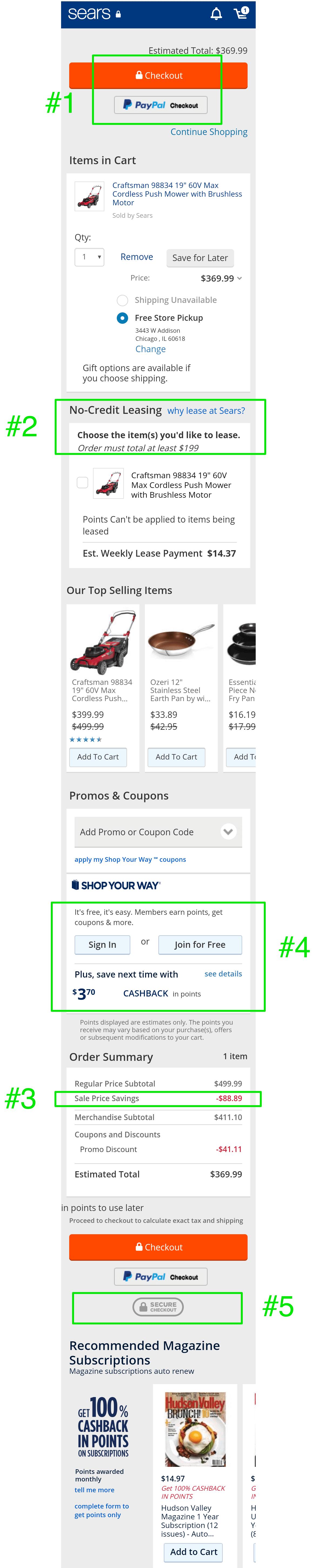 Ecommerce cart design